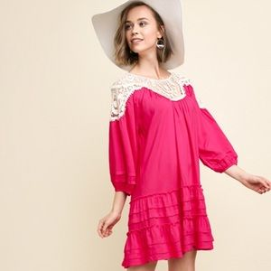 Crochet detail pink dress